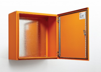 orange electrical enclosure box open
