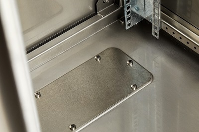"IP66 Stainless Steel 19"" Data Rack - Gland Plate Detail"